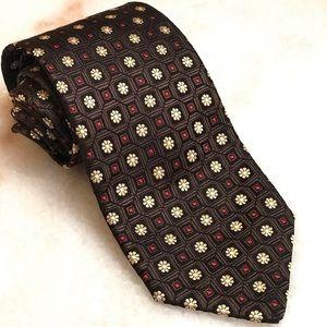 Ermenegildo Zegna Accessories - Ermenegildo Zegna Brown Floral Silk Necktie